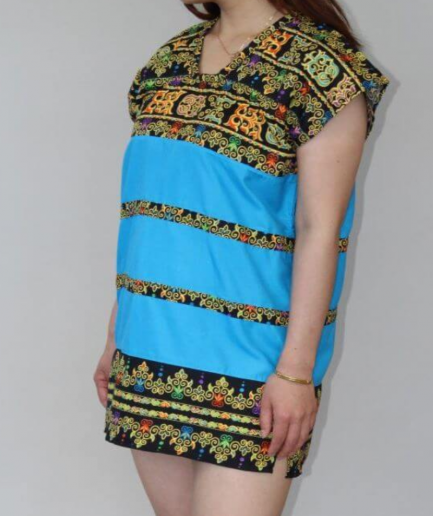 Blue and Black Patterned Batik Dress