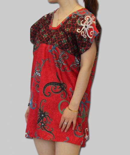 Red Octopus Print Batik Dress pure cotton