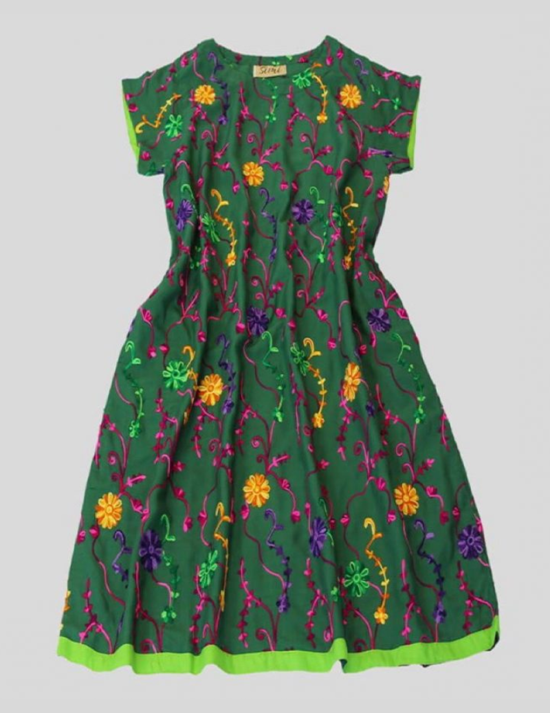 Floral Embroidery Teal Green Dress