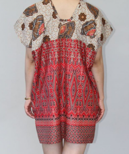Chinese Fan Print Batik Dress