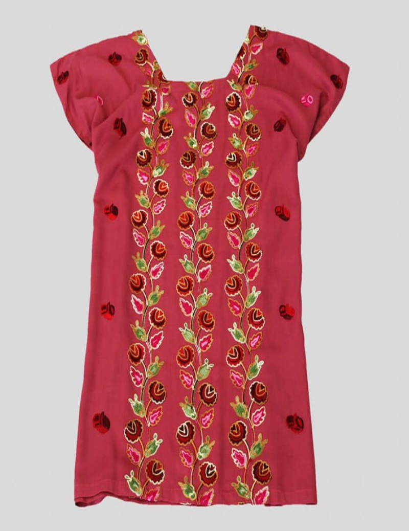 Floral Embroidery Pink Cotton Mini Dress