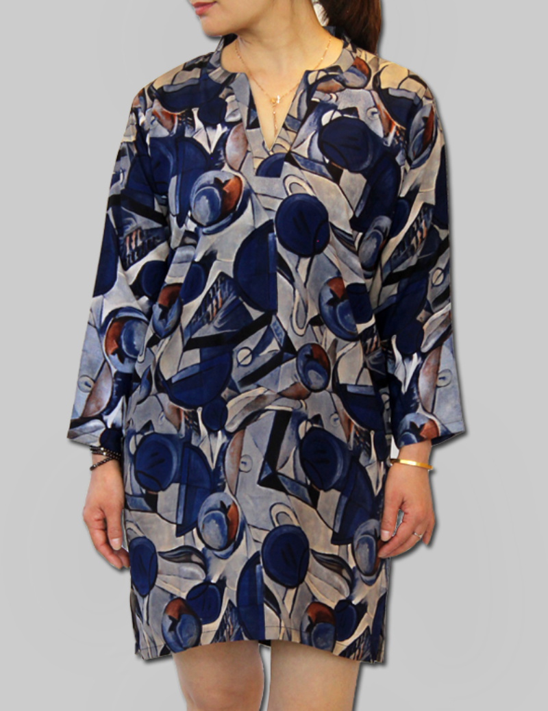 Blue Abstract Patterned Mini Dress
