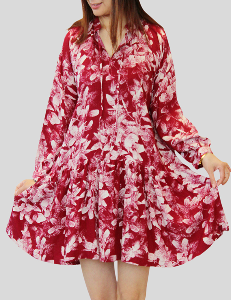 Floral Puff Sleeved Smock Dress